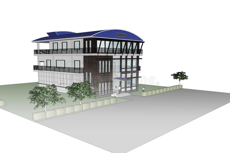 3D architecture office building. stock illustration