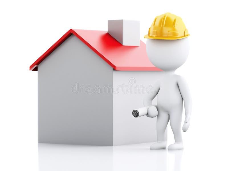 3d architekta ludzie z hełmem, planami i domem, ilustracja wektor
