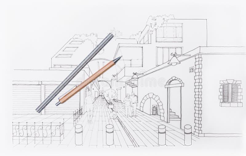 3D architekta rysunkowy obszar zamieszkały zdjęcie stock