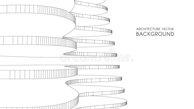 3d architektoniczny tła garażu metro abstrakcjonistyczna wektorowa ilustracja 3D abstrakcjonistyczny futurystyczny projekt dla bi royalty ilustracja