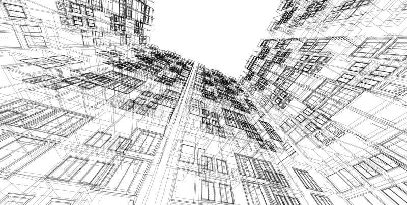 3D architektury budynku perspektywy ilustracyjne linie ilustracja wektor