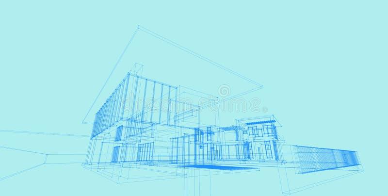 3D architektury budynku perspektywy ilustracyjne linie ilustracji