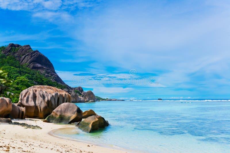 d'argent Anse的来源,拉迪格岛海岛 E 图库摄影