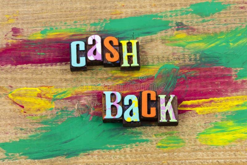 D'argent liquide citation d'impression typographique d'affaires de remise de remise de remboursement de retour photo stock