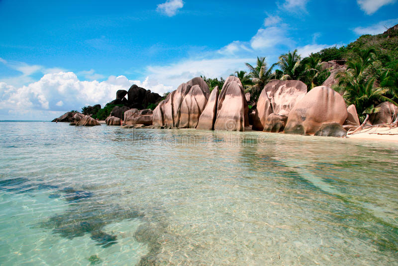 D'Argent strand för Anse källa, LaDigue ö, Seychellerna royaltyfri foto