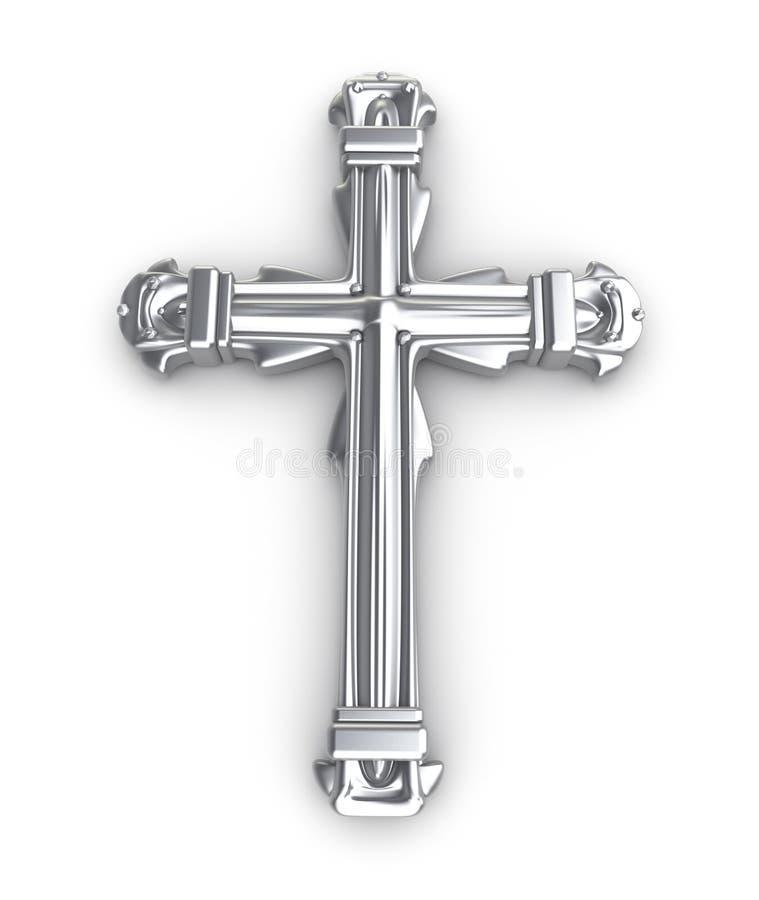 D'argento attraversi sopra il bianco illustrazione vettoriale