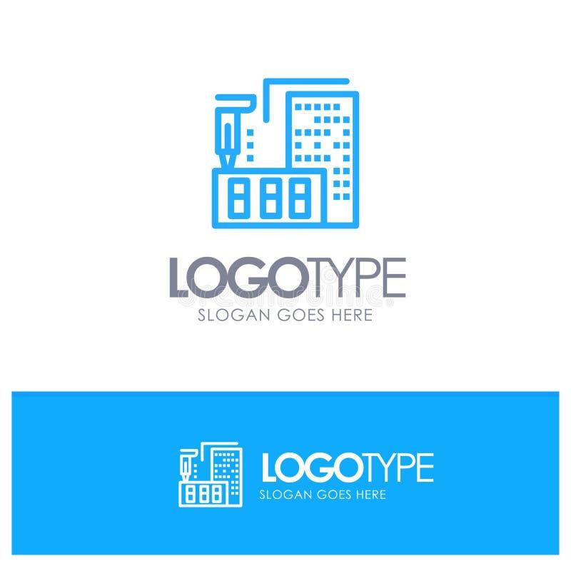 3d arkitektur, konstruktion, fabricering, hem- blå översiktslogo med stället för tagline royaltyfri illustrationer
