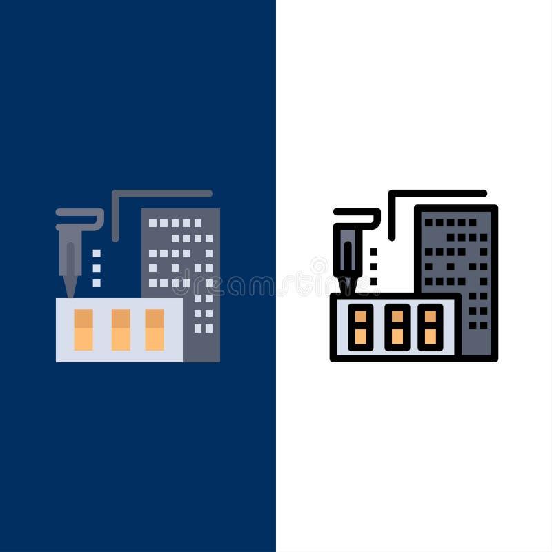 3d, arquitectura, construcción, fabricación, iconos caseros El plano y la línea icono llenado fijaron el fondo azul del vector libre illustration