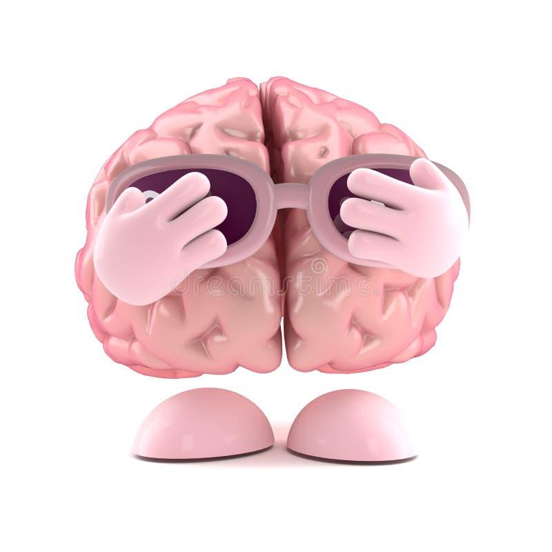 3d arrojan el cerebro stock de ilustración