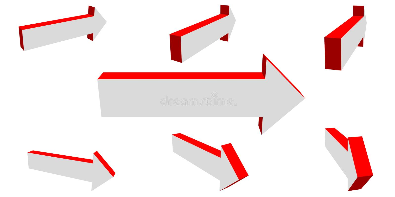 3d Arrow sign set. Isolated on white background. Vector illustration royalty free illustration