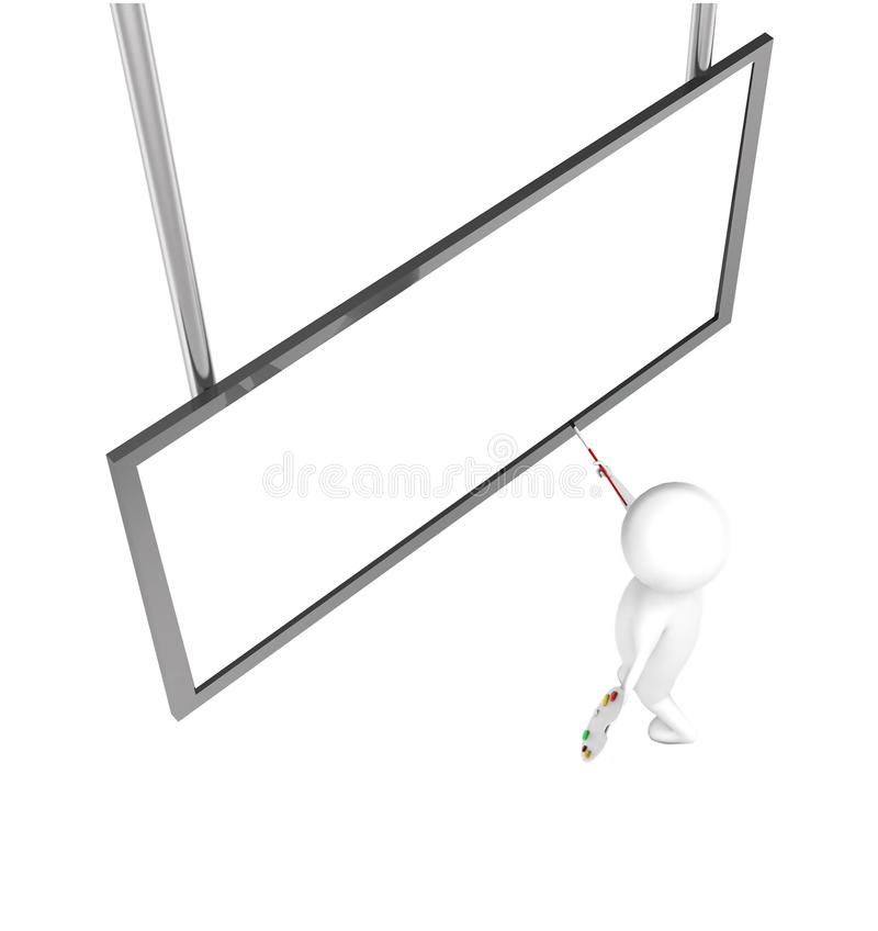 3d artist character painting on a large blank canvas conept royalty free illustration