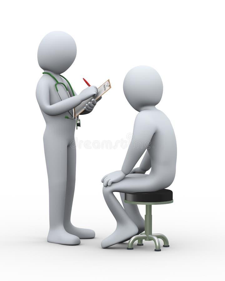 3d arts die geduldig medisch dossier schrijven stock illustratie