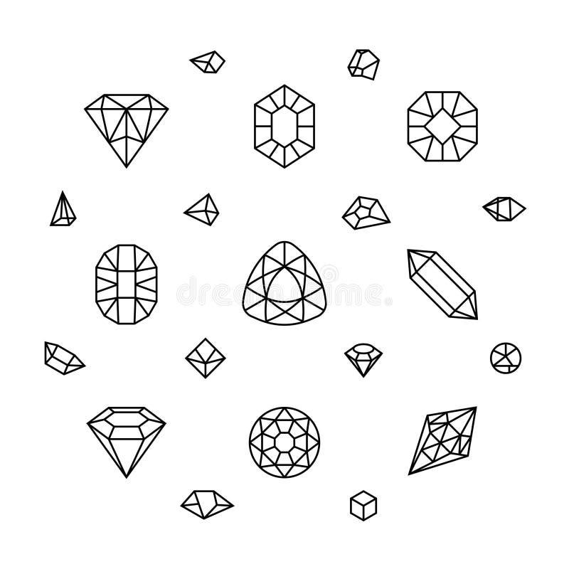 3d as formas de cristal geométricas, diamante, gemas diluem a linha ícones do vetor ilustração do vetor