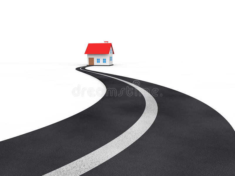 3d asphalt road leading to a house stock illustration