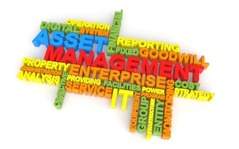 3d asset management word cloud. 3d render of asset management word cloud stock illustration
