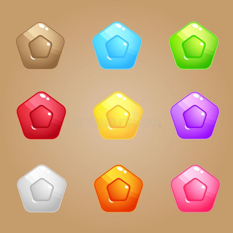 Pentagon Candy Block Puzzle Colorful match 3 button glossy jelly. royalty free illustration