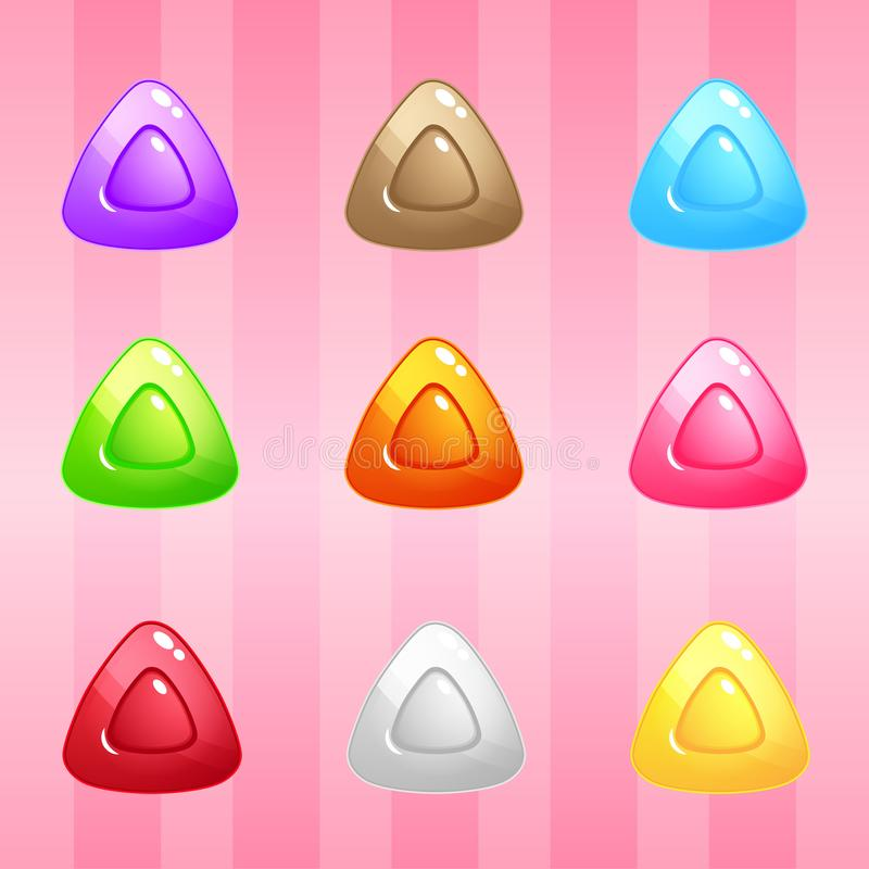Triangle Candy Block Puzzle Colorful match 3 button glossy jelly. vector illustration