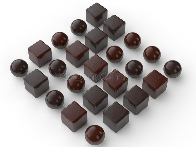 3d assorted chocolate balls and cubes vector illustration