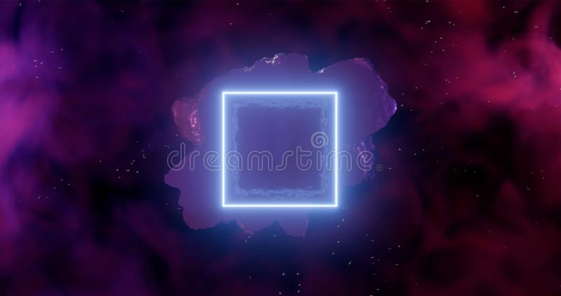 3d rendering. An asteroid in space among gas clouds lit by a light blue neon rectangle or square vector illustration