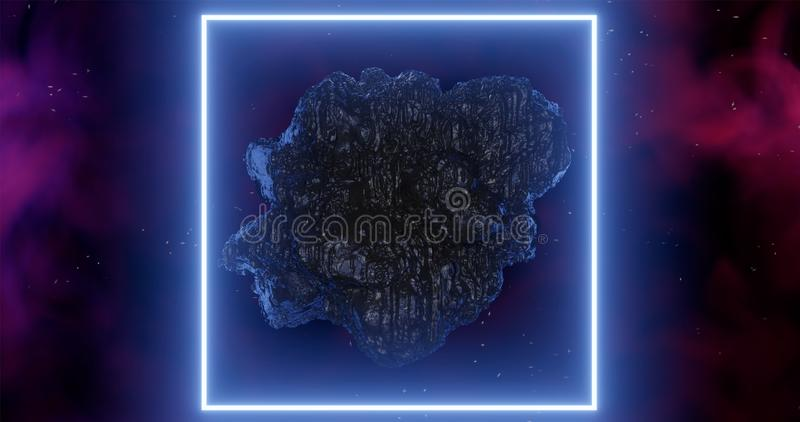 3d rendering. An asteroid in space among gas clouds lit by a light blue neon rectangle or square stock illustration