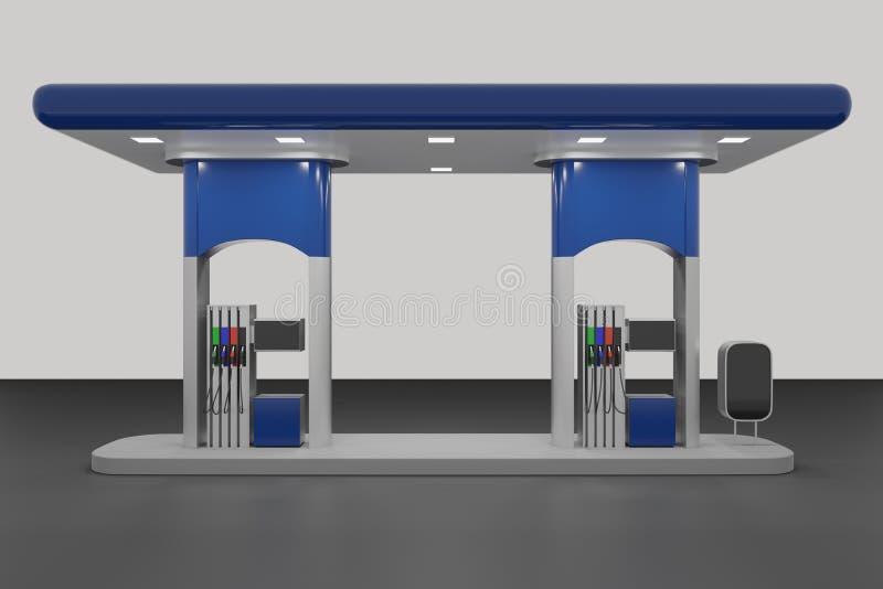 3d astratti rendono della stazione di servizio isolata su fondo bianco fotografia stock
