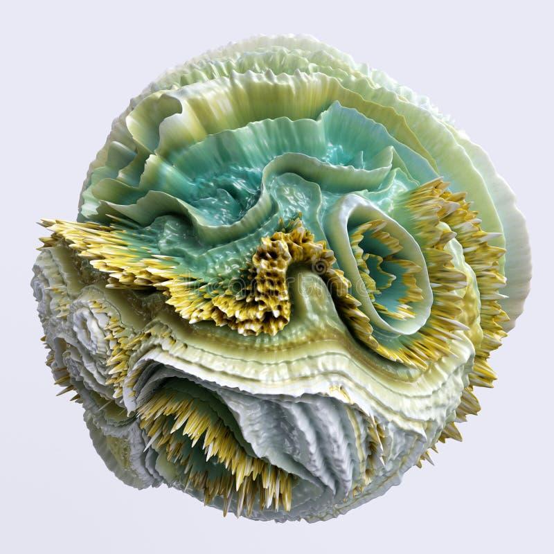 3d astratto, forma strana distorta, cosa strana, oggetto artificiale isolato sullo sfondo bianco royalty illustrazione gratis