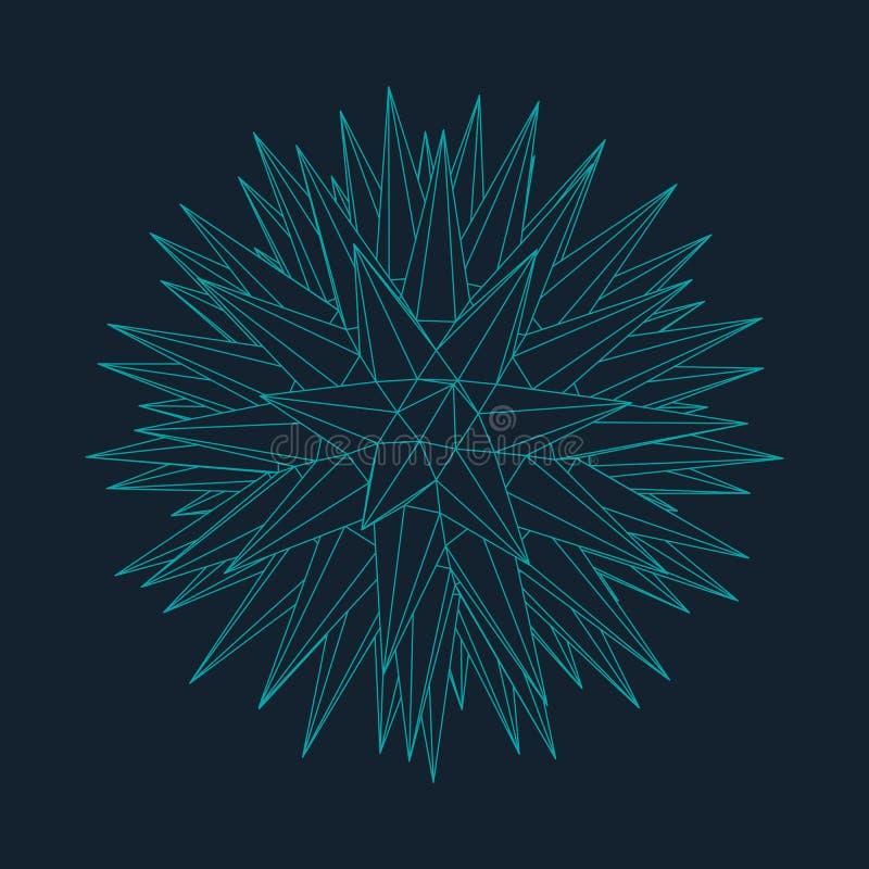 3d astratto Mesh Sphere distorto Illuminated Segno al neon Tecnologia futuristica HUD Element Elegante distrutto B royalty illustrazione gratis