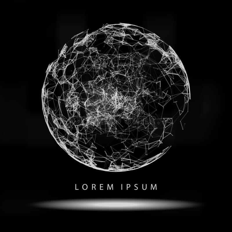 3d astratto Mesh Sphere distorto Illuminated Segno al neon Tecnologia futuristica HUD Element Elegante distrutto B illustrazione vettoriale