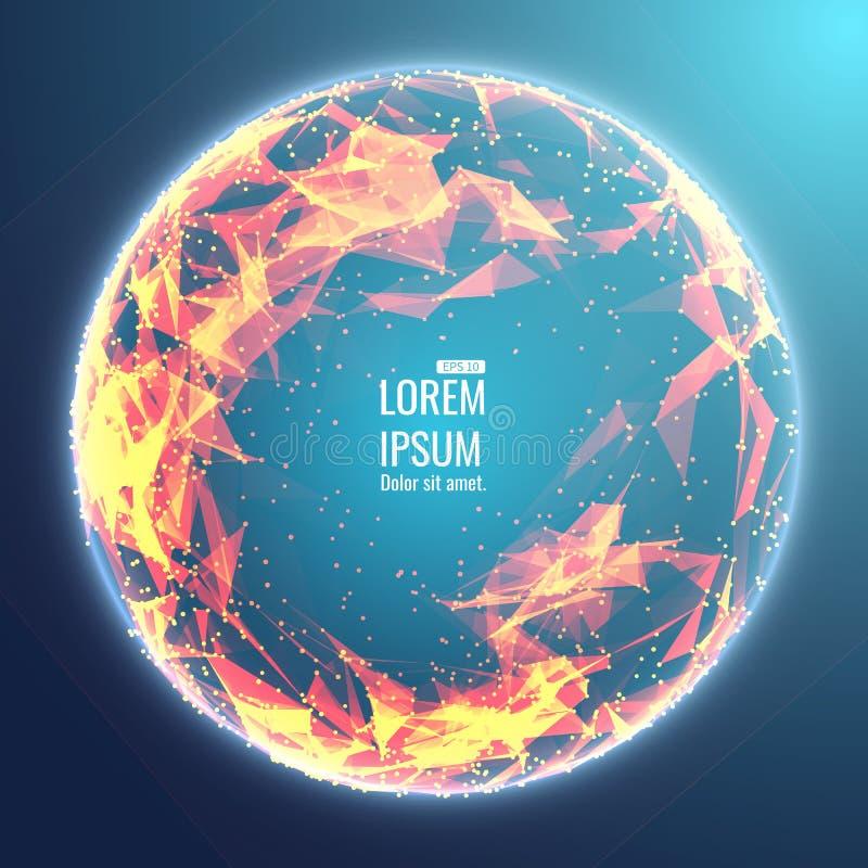 3d astratto Mesh Sphere distorto Illuminated Segno al neon Tecnologia futuristica HUD Element Elegante distrutto B illustrazione di stock