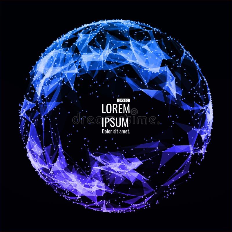 3d astratto Mesh Sphere distorto Illuminated Segno al neon Tecnologia futuristica HUD Element Elegante distrutto grande illustrazione di stock
