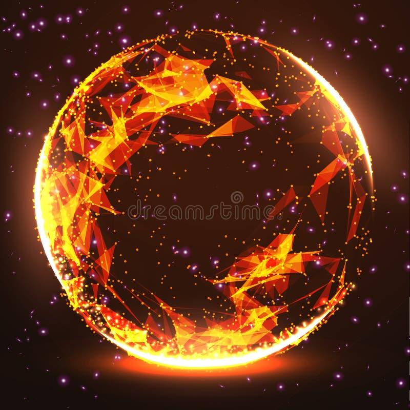 3d astratto Mesh Sphere distorto Illuminated Segno al neon Tecnologia futuristica HUD Element Elegante distrutto grande illustrazione vettoriale