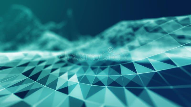 3d astratto Mesh Sphere distorto Illuminated Segno al neon Tecnologia futuristica HUD Element Estratto elegante illustrazione di stock