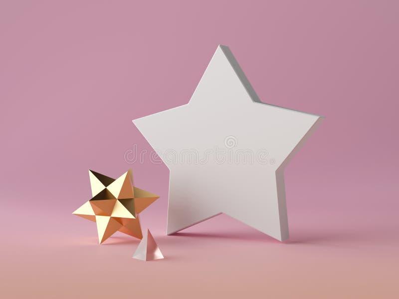 3d astratto sottofondo moderno, forma stellata bianca isolata su oggetto poligonale rosa, cristallo d'oro, scena minimalista illustrazione di stock