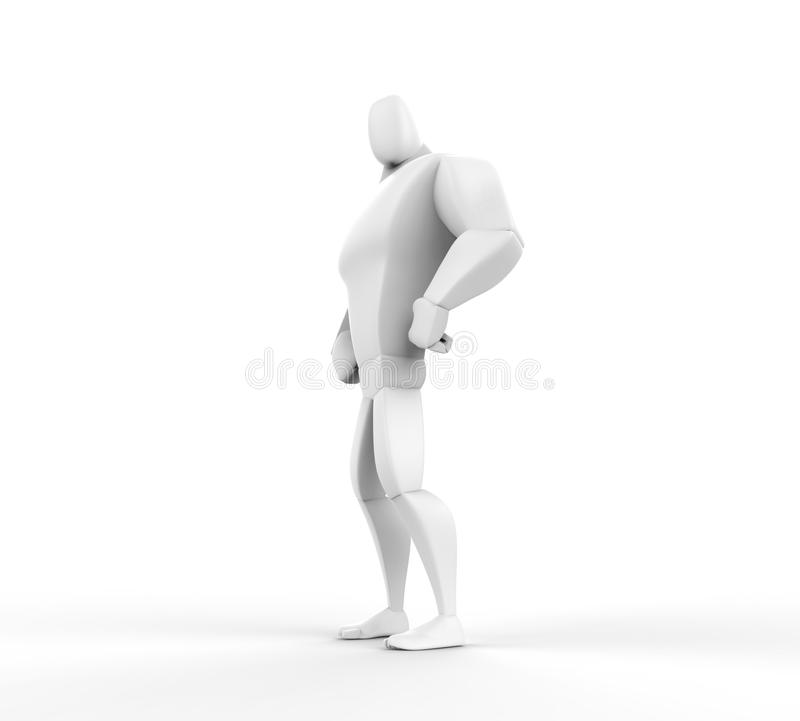 3D atleta Hero Posing ilustração stock
