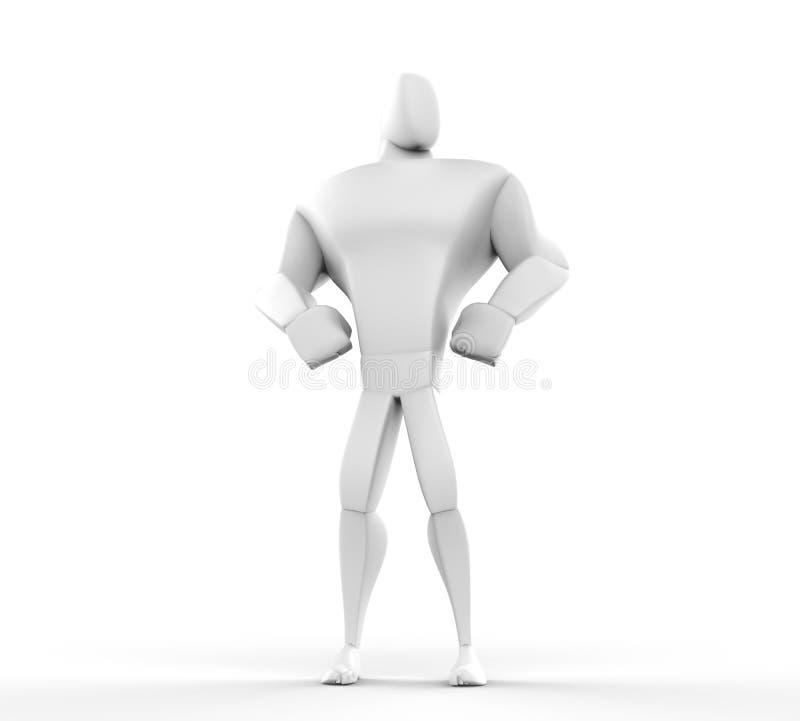 3D atleta Hero Posing - vista dianteira ilustração stock