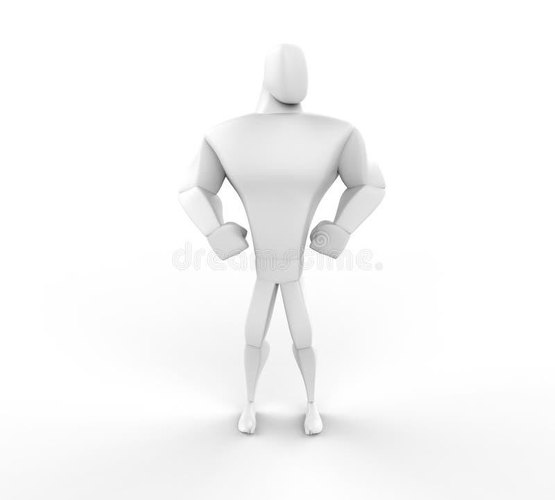 3D atleta Hero Posing - vista dianteira ilustração do vetor