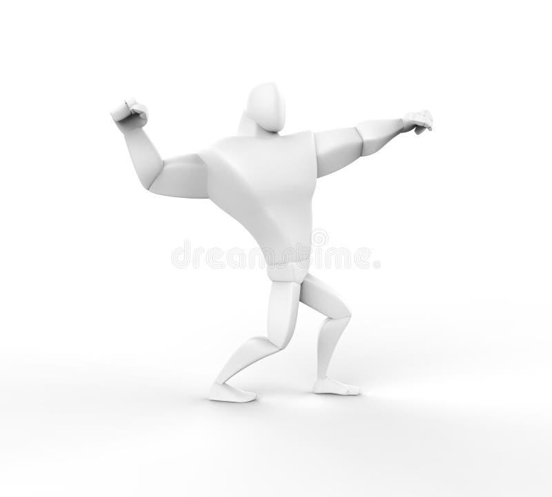 3D atleta Power Posing ilustração stock
