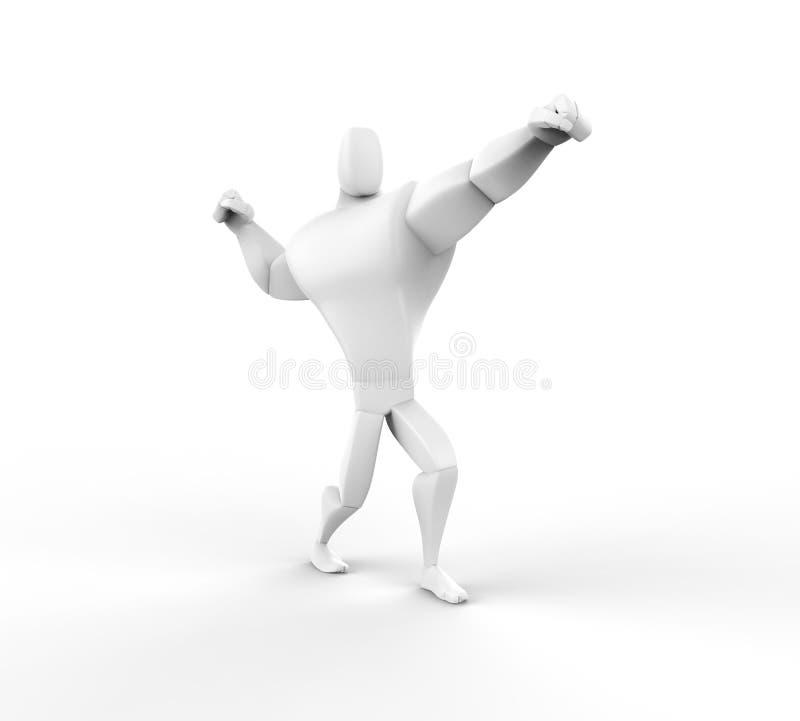 3D atleta Power Posing ilustração royalty free