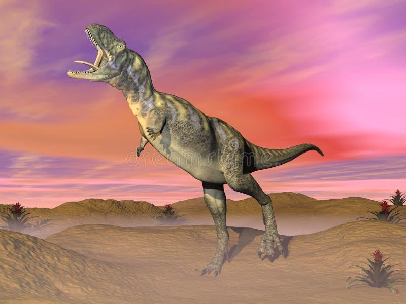 3D Aucasaurusdinosaurus - geef terug stock illustratie