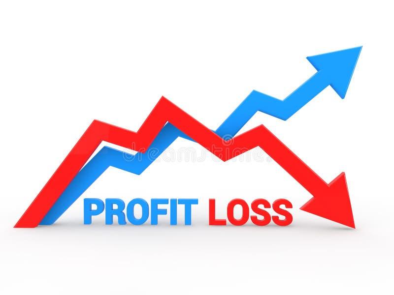 3d auf und ab die Pfeilschilderung Gewinn- und Verlust lizenzfreie abbildung