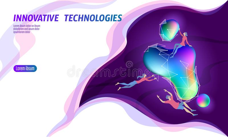 3D augmented reality virtual media space. Small men around glowing neon fluid liquid color sphere. Digital entertainment royalty free illustration