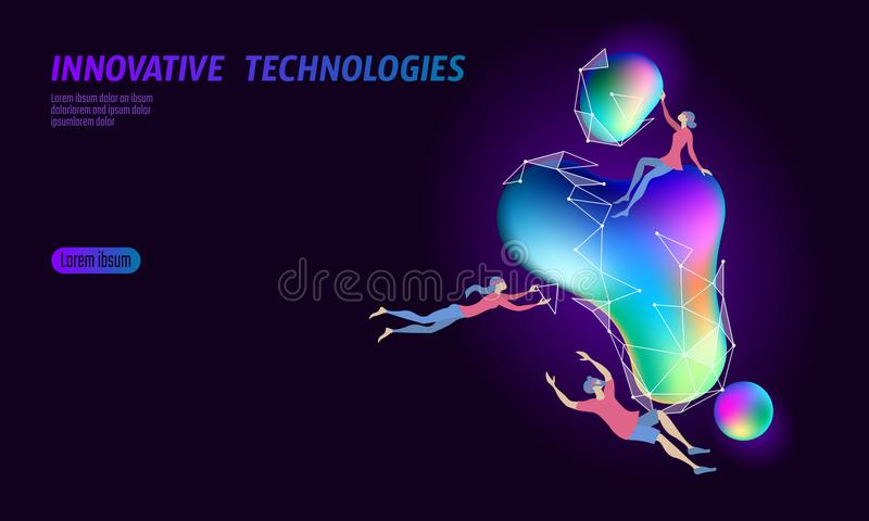 3D augmented reality virtual media space. Small people education glowing neon fluid liquid color sphere. Digital vector illustration
