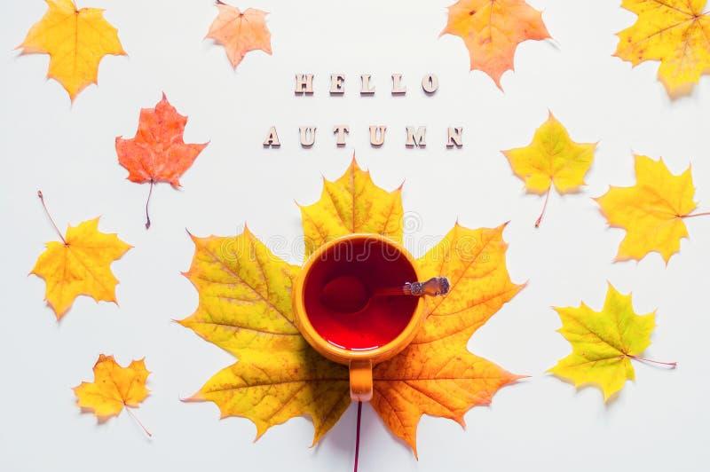 D'automne toujours durée Tasse de thé avec l'automne de feuilles et d'inscription d'automne d'érable bonjour sur le fond blanc images stock