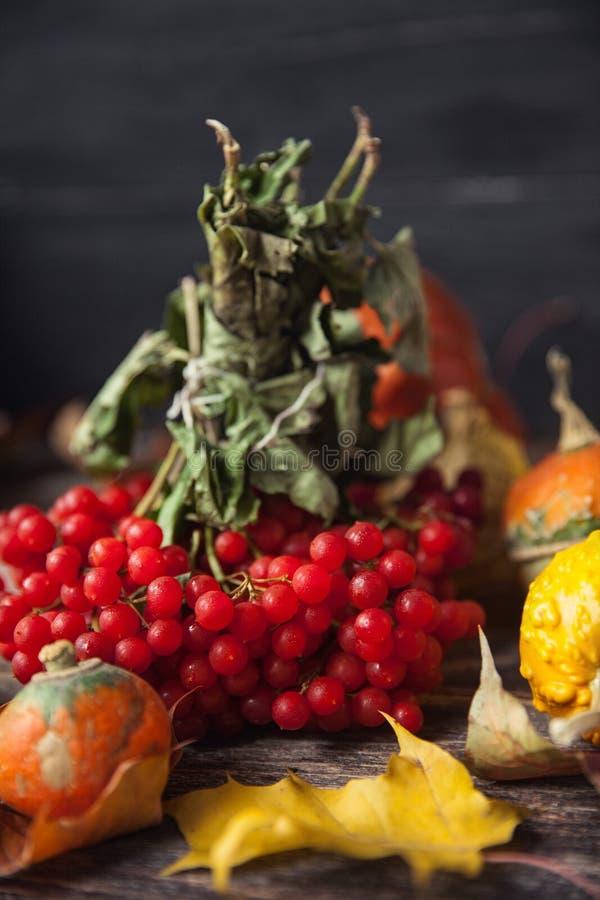 D'automne toujours la vie avec des potirons et des feuilles sur le vieux backgro en bois photo stock