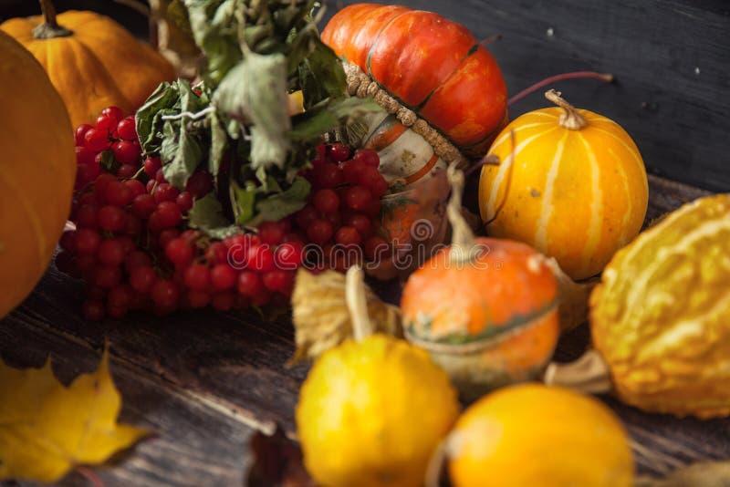 D'automne toujours la vie avec des potirons et des feuilles sur le vieux backgro en bois images stock