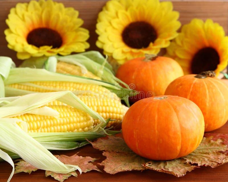 D'automne toujours la vie avec les potirons, le maïs, les feuilles et les tournesols photographie stock libre de droits