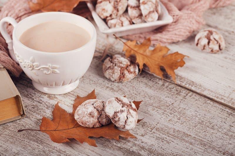 D'automne toujours la vie avec la tasse de biscuits de cacao et de chocolat image libre de droits