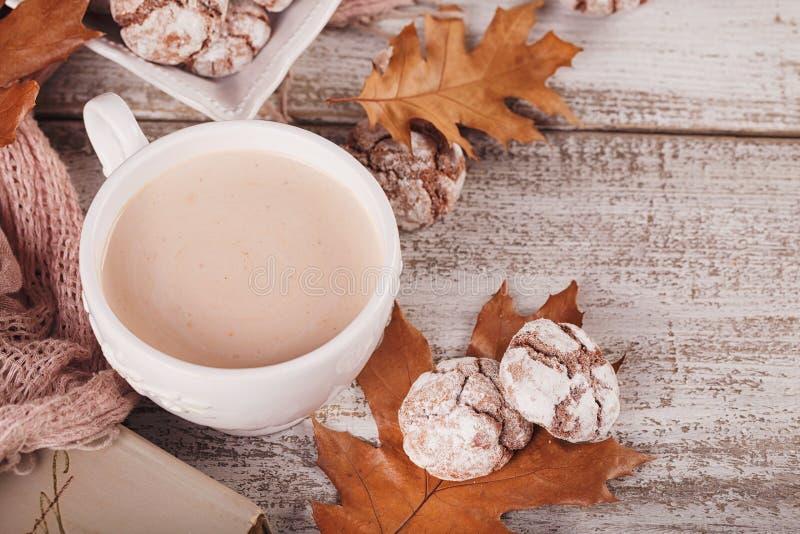 D'automne toujours la vie avec la tasse de biscuits de cacao et de chocolat photo libre de droits