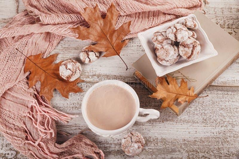 D'automne toujours la vie avec la tasse de biscuits de cacao et de chocolat photographie stock