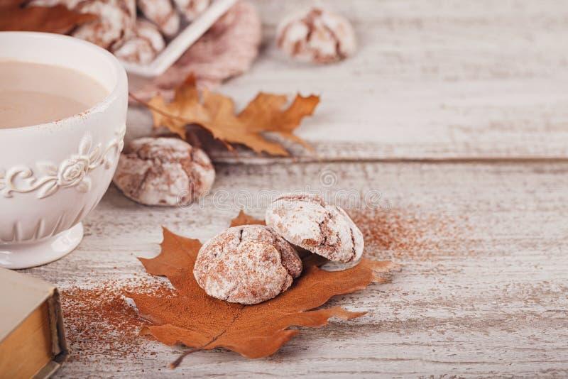D'automne toujours la vie avec la tasse de biscuits de cacao et de chocolat images stock